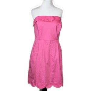 Vineyard Vines Strapless Scallop Pink Dress - 10